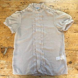 ASOS Prairie Pleated Short Sleeve Blouse Top